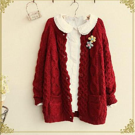 Lovely Red Sweater Cute Sweater For Autumn 2015 Sweater High Quality Women Sweaters