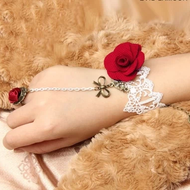 Red Rose Lace Bride Bridesmaid bracelet with one chain ring