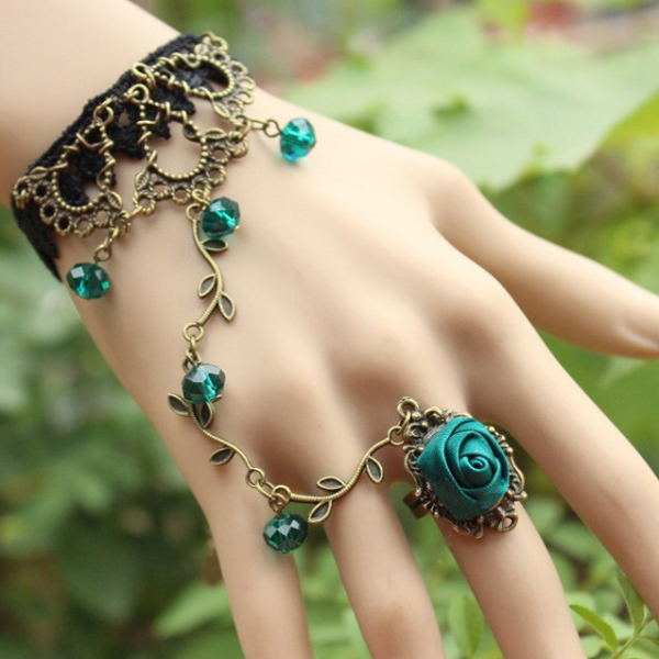 Bohemia retro flower vine Green Crystal Bracelet with one chain ring female Bracelet