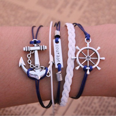 Manual of multilayer woven Bracelet Fashion anchor rudder infinite stratified Bracelet