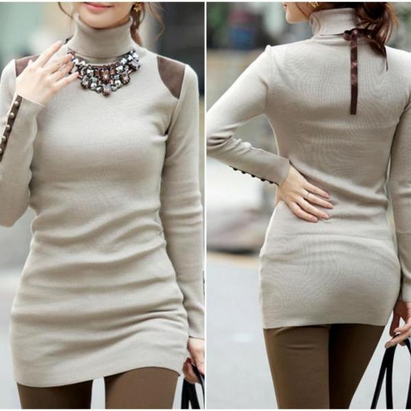 Turtle Neck Chic Long Sleeve Top In Khaki