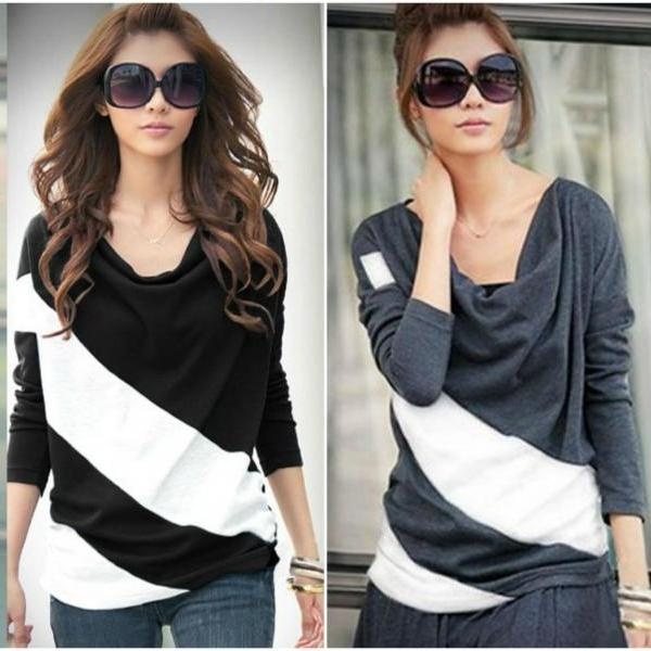 Chic Color Block Casual Long Sleeve Top