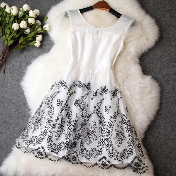Vintage Embroidery Organza Dress -White