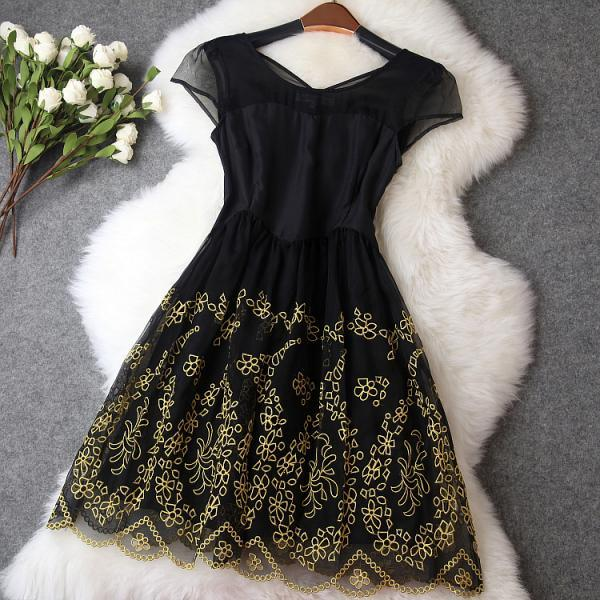 Vintage Embroidery Organza Dress-Black