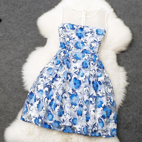 Blue Printing Stitching Embroidery Slim Dress
