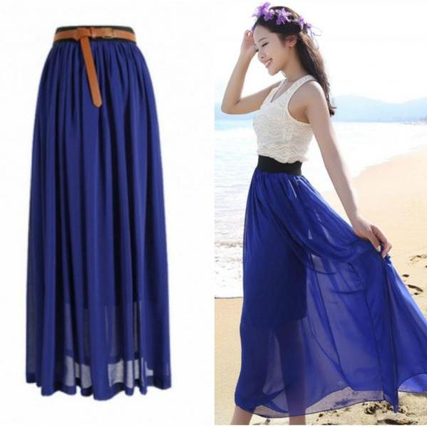 Navy Blue Chiffon Maxi Skirt