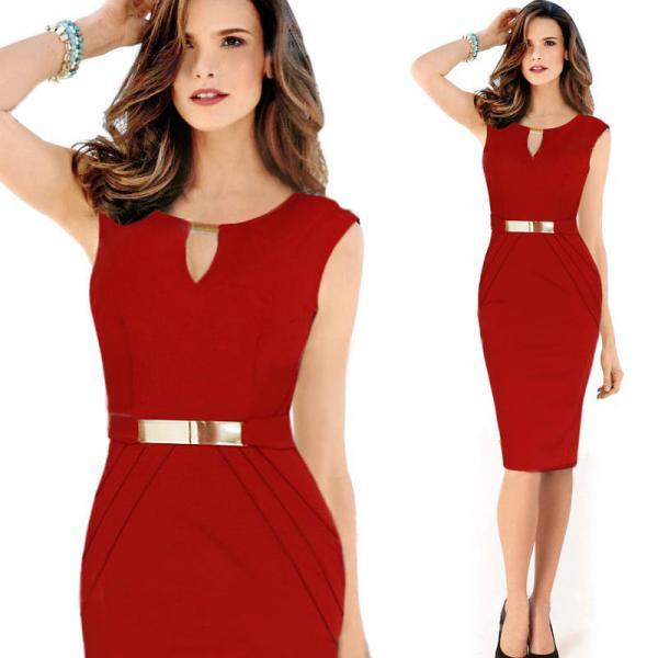 Sexy Ladies Celeb Sleeveless Slim Fashion Bodycon Party Cocktail Evening Dress Red