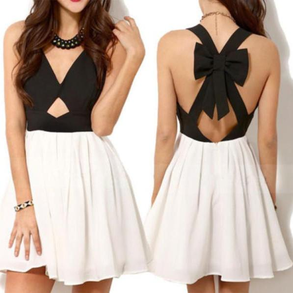 New Summer Party Dress Fashion Women Sexy Vintage Black White Criss Cross Back Hollow Out Bowknot Pleated Chiffon Dress