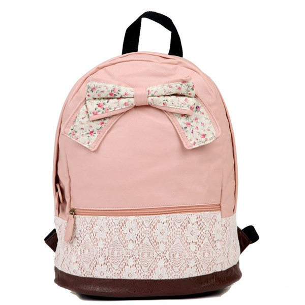 Bowknot Pink Backpack With Lace Detail