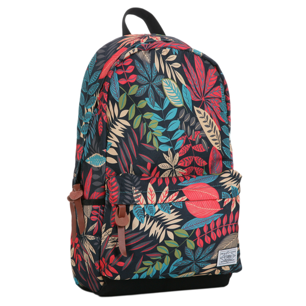 Leaves Printed Canvas Backpack