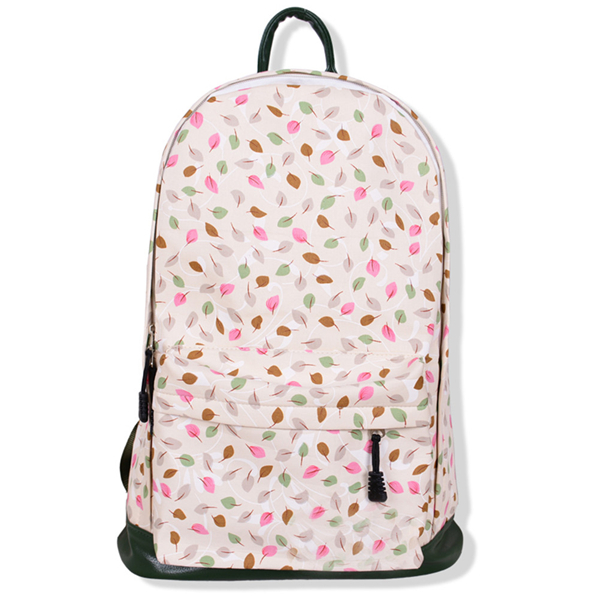 Multicolour Leaves Print Canvas School Bag Travel Backpack