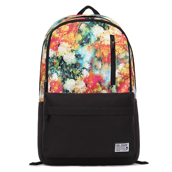 Flowers Print Canvas School Bag Travel Backpack