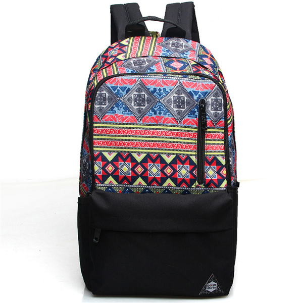 Geometric Pattern Canvas School Bag Travel Backpack
