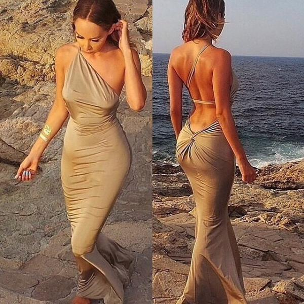 Sexy Low Back Gold Goddess Dress