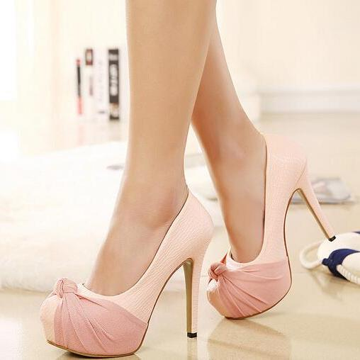 Adorable Bow Design High Heels Fashion Shoes