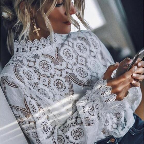 Sexy perspective long sleeve stand collar lace shirt