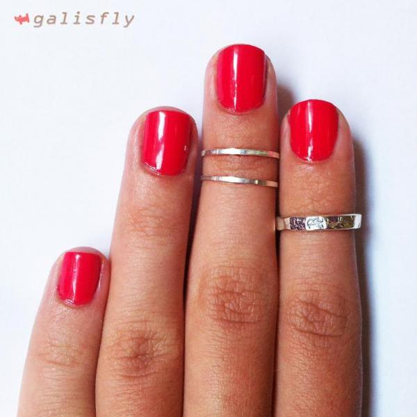 Women's Stackable Ring Set Classic Silver Combo Thin Knuckle Rings
