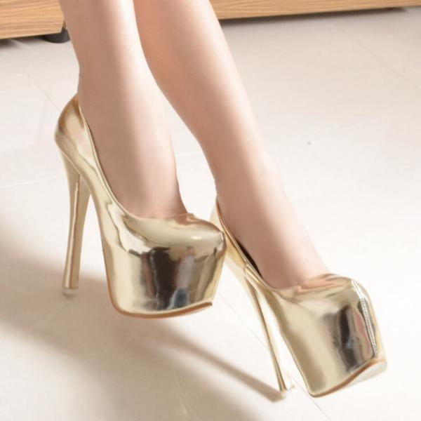 2015 the European and American candy color paint gold heels