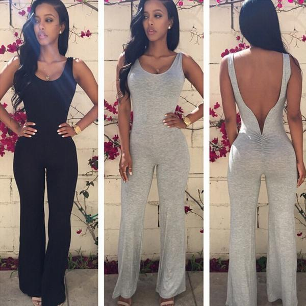 Sexy Backless Bell-Bottoms Jumpsuit