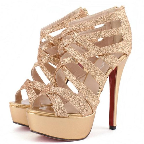 f2d87ccbd3c Gold Glittery Caged Stiletto Open Toe Heels With Back Zipper on Luulla
